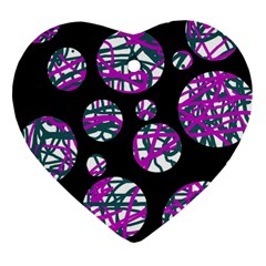 Purple Decorative Design Heart Ornament (2 Sides) by Valentinaart