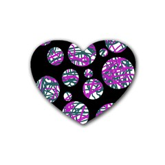 Purple Decorative Design Rubber Coaster (heart)  by Valentinaart