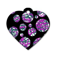 Purple Decorative Design Dog Tag Heart (one Side) by Valentinaart