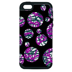 Purple Decorative Design Apple Iphone 5 Hardshell Case (pc+silicone) by Valentinaart