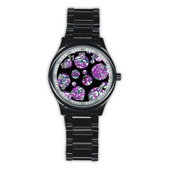 Purple Decorative Design Stainless Steel Round Watch by Valentinaart