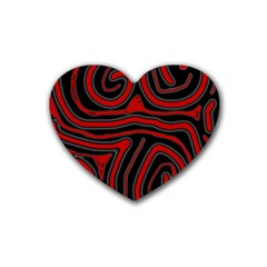 Red And Black Abstraction Rubber Coaster (heart)  by Valentinaart