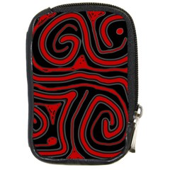 Red And Black Abstraction Compact Camera Cases by Valentinaart