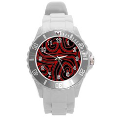 Red And Black Abstraction Round Plastic Sport Watch (l) by Valentinaart