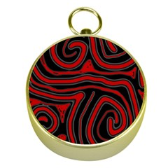 Red And Black Abstraction Gold Compasses
