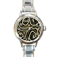 Brown Elegant Abstraction Round Italian Charm Watch by Valentinaart