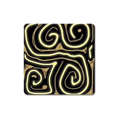Brown Elegant Abstraction Square Magnet by Valentinaart
