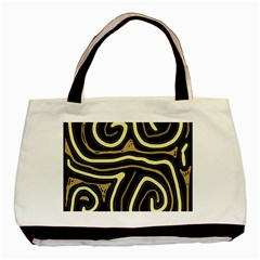 Brown Elegant Abstraction Basic Tote Bag (two Sides) by Valentinaart