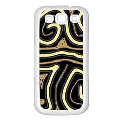 Brown Elegant Abstraction Samsung Galaxy S3 Back Case (white) by Valentinaart