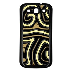 Brown Elegant Abstraction Samsung Galaxy S3 Back Case (black) by Valentinaart