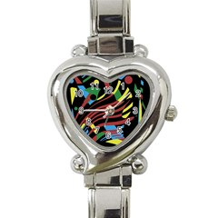 Colorful Decorative Abstrat Design Heart Italian Charm Watch by Valentinaart