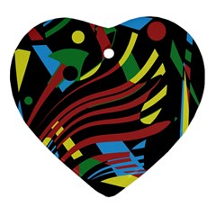 Colorful Decorative Abstrat Design Heart Ornament (2 Sides) by Valentinaart