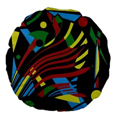 Colorful Decorative Abstrat Design Large 18  Premium Flano Round Cushions by Valentinaart