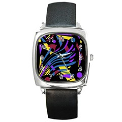 Decorative Abstract Design Square Metal Watch by Valentinaart