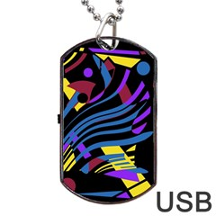Decorative Abstract Design Dog Tag Usb Flash (one Side) by Valentinaart