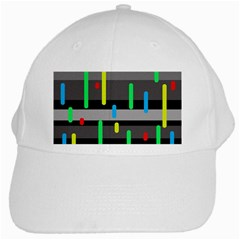 Colorful Pattern White Cap by Valentinaart