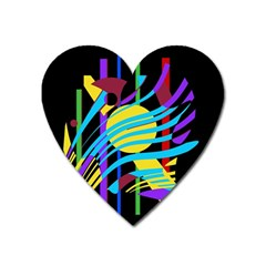 Colorful Abstract Art Heart Magnet