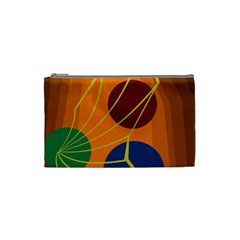 Orange Abstraction Cosmetic Bag (small)  by Valentinaart