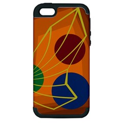 Orange Abstraction Apple Iphone 5 Hardshell Case (pc+silicone) by Valentinaart