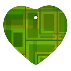 Green Pattern Heart Ornament (2 Sides) by Valentinaart