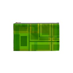 Green Pattern Cosmetic Bag (small)  by Valentinaart