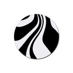 Black And White Pattern Rubber Round Coaster (4 Pack)  by Valentinaart