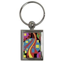 Colorful Abstrac Art Key Chains (rectangle)  by Valentinaart