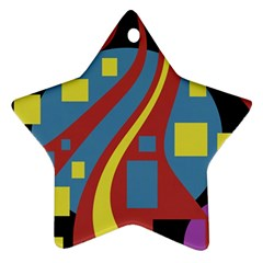Colorful Abstrac Art Star Ornament (two Sides)