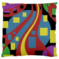 Colorful Abstrac Art Large Cushion Case (one Side) by Valentinaart