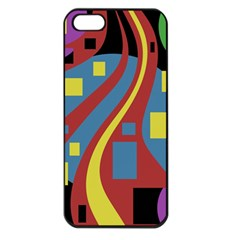 Colorful Abstrac Art Apple Iphone 5 Seamless Case (black) by Valentinaart