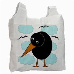 Black Raven Recycle Bag (one Side) by Valentinaart