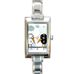Black And White Birds Rectangle Italian Charm Watch by Valentinaart