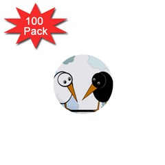 Black And White Birds 1  Mini Buttons (100 Pack)  by Valentinaart