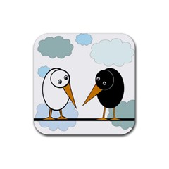 Black And White Birds Rubber Square Coaster (4 Pack)  by Valentinaart