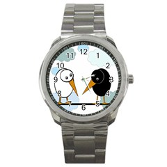 Black And White Birds Sport Metal Watch by Valentinaart