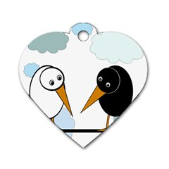 Black And White Birds Dog Tag Heart (two Sides) by Valentinaart