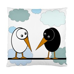Black And White Birds Standard Cushion Case (two Sides) by Valentinaart