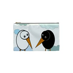 Black And White Birds Cosmetic Bag (small)  by Valentinaart