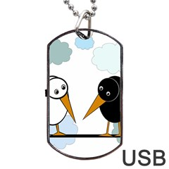 Black And White Birds Dog Tag Usb Flash (one Side) by Valentinaart