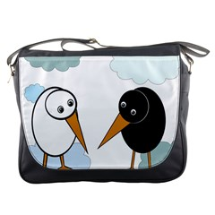 Black And White Birds Messenger Bags by Valentinaart