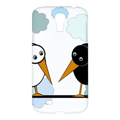 Black And White Birds Samsung Galaxy S4 I9500/i9505 Hardshell Case by Valentinaart