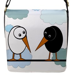 Black And White Birds Flap Messenger Bag (s) by Valentinaart