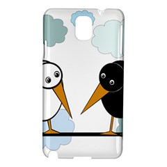 Black And White Birds Samsung Galaxy Note 3 N9005 Hardshell Case by Valentinaart
