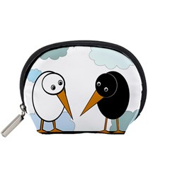 Black And White Birds Accessory Pouches (small)  by Valentinaart