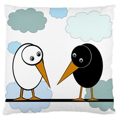Black And White Birds Large Flano Cushion Case (one Side) by Valentinaart
