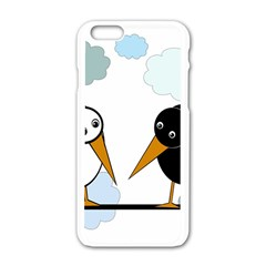 Black And White Birds Apple Iphone 6/6s White Enamel Case by Valentinaart