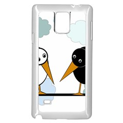 Black And White Birds Samsung Galaxy Note 4 Case (white) by Valentinaart