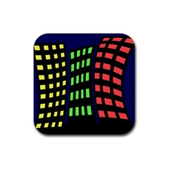 Colorful Abstract City Landscape Rubber Square Coaster (4 Pack)  by Valentinaart