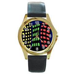 Colorful Abstract City Landscape Round Gold Metal Watch by Valentinaart