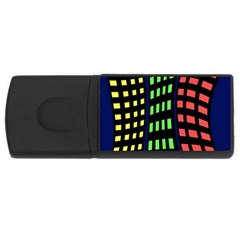 Colorful Abstract City Landscape Usb Flash Drive Rectangular (4 Gb)  by Valentinaart